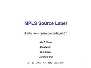 MPLS Source Label