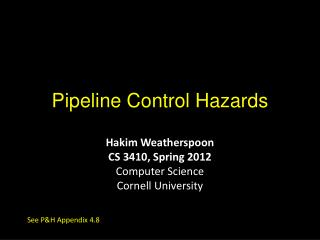 Pipeline Control Hazards