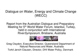 Dialogue on Water, Energy and Climate Change (WECC)