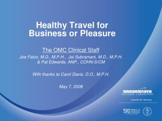 Healthy Travel for Business or Pleasure