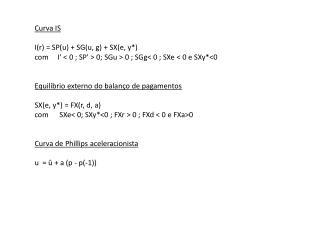 Curva IS I(r ) = SP(u) + SG(u, g) + SX(e, y*)