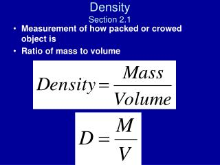 Density Section 2.1