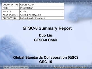 GTSC-8 Summary Report
