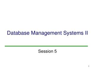 Database Management Systems II