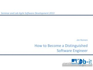 How to Become a  Distinguished Software  Engineer