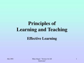 Principles of  Learning and Teaching
