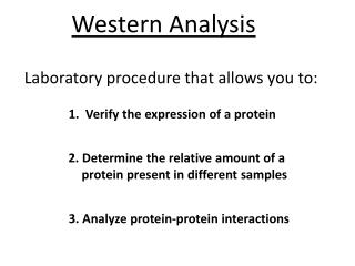 Laboratory procedure that allows you to: