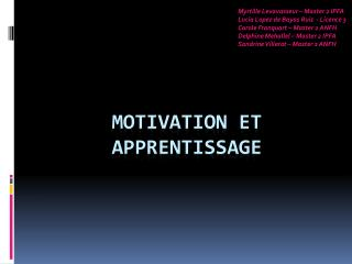 Motivation et Apprentissage