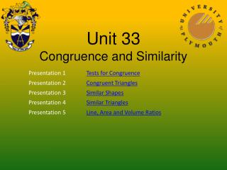 Unit 33 Congruence and Similarity