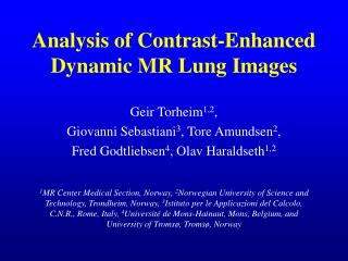 Analysis of Contrast-Enhanced Dynamic MR Lung Images