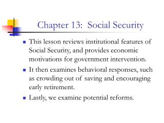 Chapter 13:  Social Security
