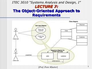 "ITEC 3010 ""Systems Analysis and Design, I"" LECTURE 7: The Object-Oriented Approach to Requirements"