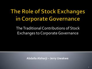 The Role of Stock Exchanges in Corporate Governance