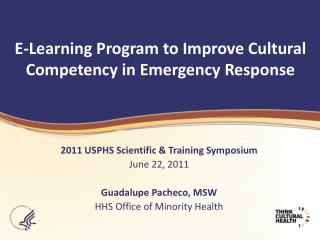 E-Learning Program to Improve Cultural Competency in Emergency Response
