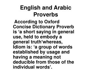 English and Arabic Proverbs