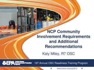 NCP Community Involvement Requirements and Additional Recommendations