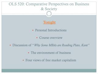 OLS 520:  Comparative Perspectives on Business & Society