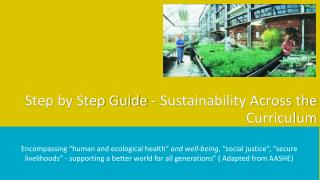 Step by Step Guide - Sustainability Across the Curriculum