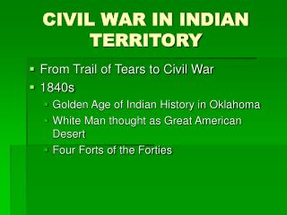 CIVIL WAR IN INDIAN TERRITORY