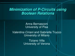 Minimization  of P- Circuits using Boolean  Relations
