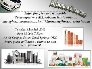 Enjoy food, fun and fellowship! Come experience ALL Arbonne has to offer…..