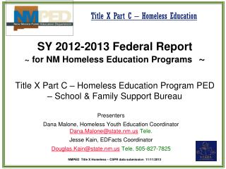SY 2012-2013 Federal Report  ~ for NM Homeless Education Programs   ~