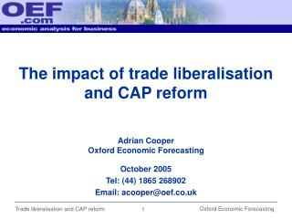 The impact of trade liberalisation and CAP reform