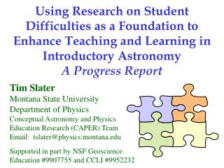 Using Research on Student Difficulties as a Foundation to Enhance Teaching and Learning in Introductory Astronomy
