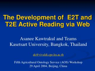 The Development of  E2T and T2E Active Reading via Web