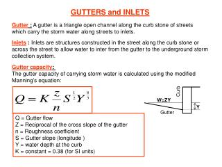 GUTTERS and INLETS