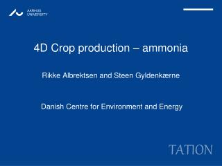 4D Crop production – ammonia