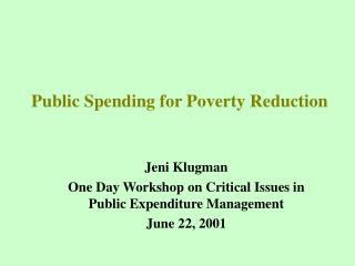 Public Spending for Poverty Reduction