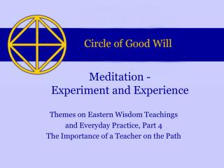 Meditation - Experiment and Experience