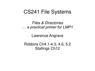 CS241 File Systems