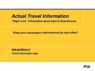 Actual Travel Information