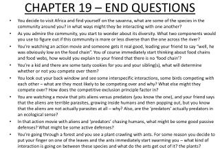 CHAPTER 19 – END QUESTIONS