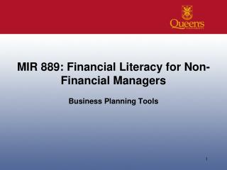 MIR  889: Financial  Literacy for  Non-Financial  Managers
