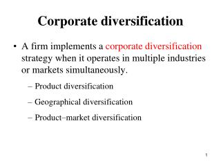Corporate diversification