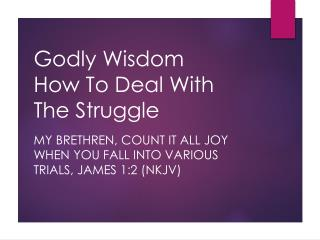 Godly Wisdom How To Deal With The Struggle