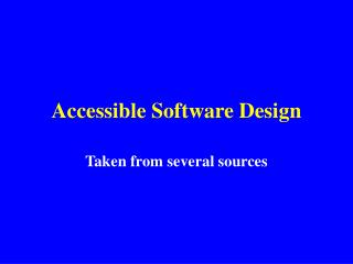 Accessible Software Design
