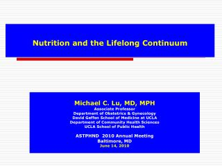 Nutrition and the Lifelong Continuum