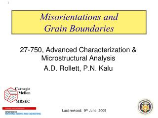 Misorientations and  Grain Boundaries