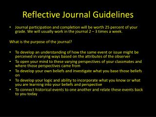 Reflective Journal Guidelines