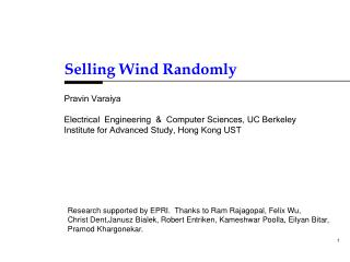 Selling Wind Randomly