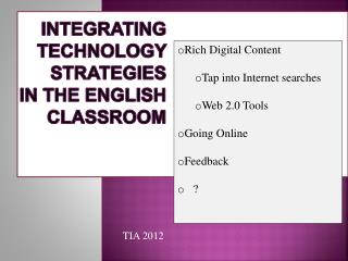 Integrating Technology Strategies In the English classroom