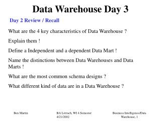 Data Warehouse Day 3