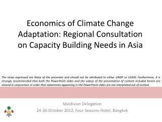 Economics of Climate Change Adaptation: Regional Consultation on Capacity Building Needs in Asia