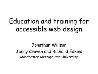 Education and training for accessible web design