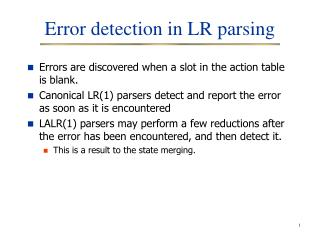 Error detection in LR parsing