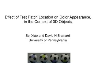 Effect of Test Patch Location on Color Appearance,  in the Context of 3D Objects